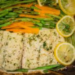 Halibut cooked in Parchment Paper with Olive Oil